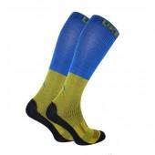 Термоноски длинные (гольфы) Trekking LongDry+ желто-синие